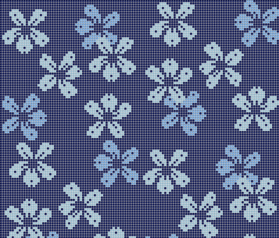 Decor 10x10 Nightbloom Blu by Mosaico+ | Glass mosaics
