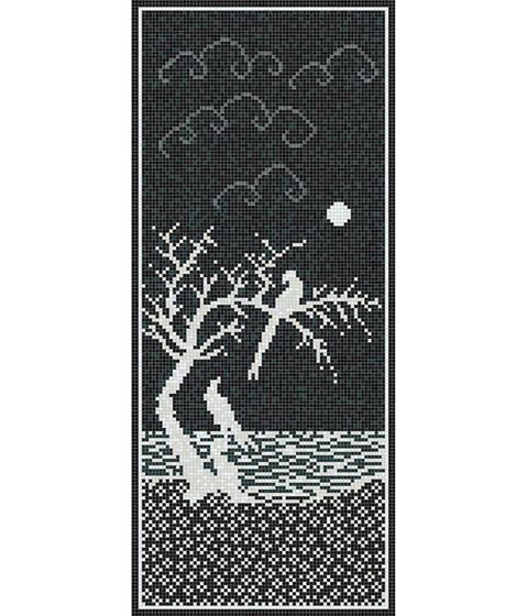 Decor 15x15 Inlay Black B by Mosaico+ | Glass mosaics