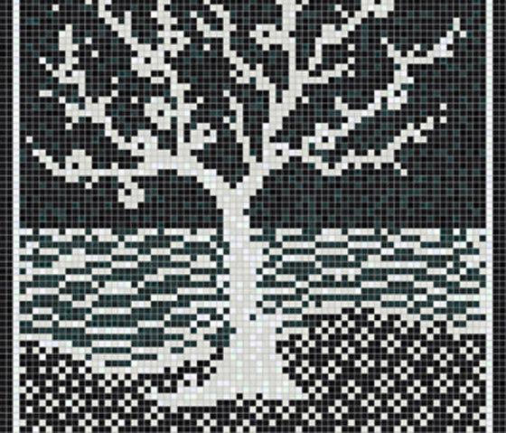 Decor 15x15 Inlay Black C by Mosaico+ | Mosaics
