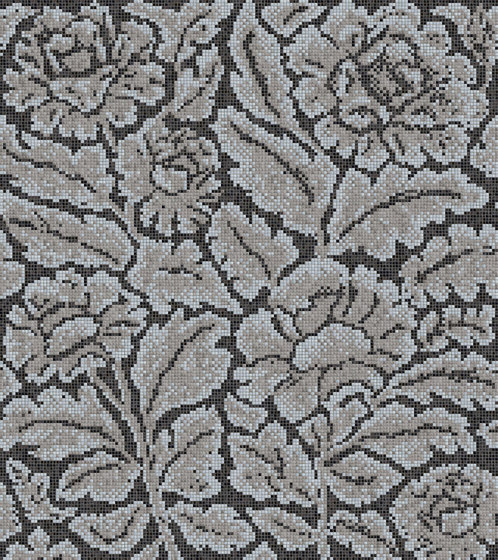 Decor Blooming | Lacquer Grey 15x15 by Mosaico+ | Glass mosaics