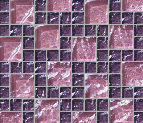 Decor 23x23 | 48x48 Frieze Pink Decoro by Mosaico+ | Glass mosaics