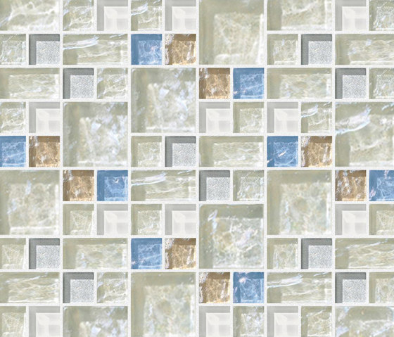 Decor 23x23 | 48x48 Link White Decoro by Mosaico+ | Glass mosaics