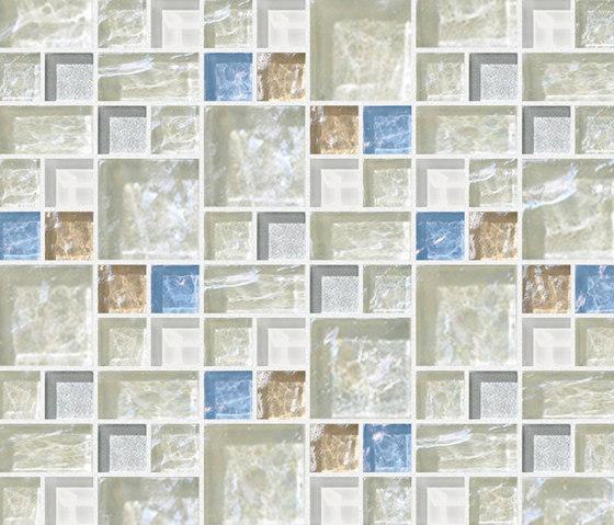Decor 23x23 | 48x48 Link White Decoro by Mosaico+ | Mosaics