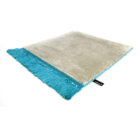 Vivid Solid silver cloud peacock blue by Miinu | Rugs / Designer rugs