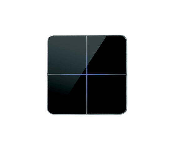 Enzo 4-way black glass by Basalte | KNX-Systems