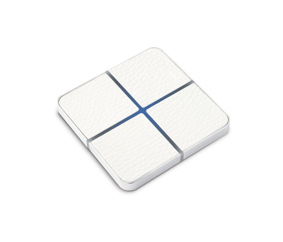Enzo switch - white leather - 4-way by Basalte | KNX-Systems