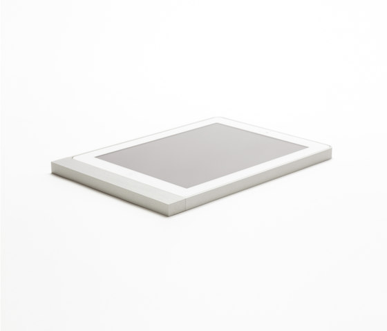 Eve brushed aluminium square di Basalte | Information terminals
