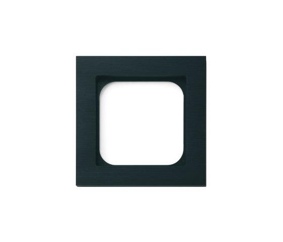 Frame 1-gang brushed black by Basalte | Socket outlets