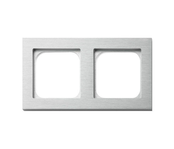 Frame 2-gang brushed aluminium by Basalte | Socket outlets