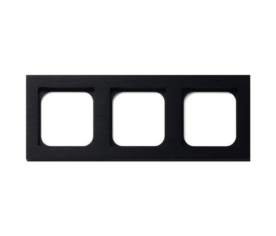 Frame 3-gang brushed black by Basalte | Socket outlets