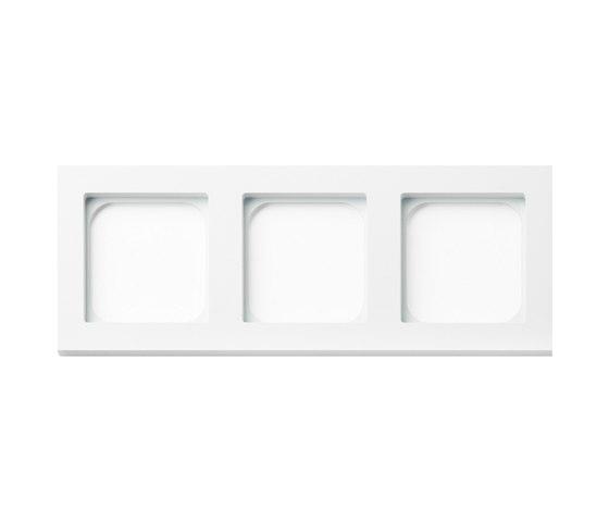 Frame 3-gang satin white by Basalte | Socket outlets