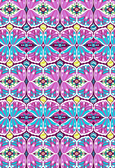 Floral pattern | Purple and blue repeating design by wallunica | Wall coverings / wallpapers