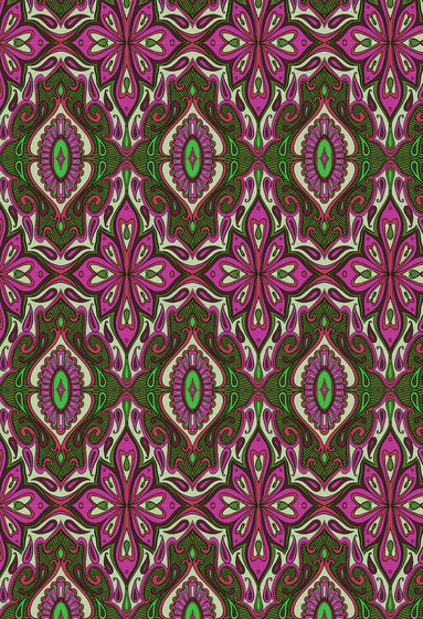 Floral pattern | Magenta and green repetitive design by wallunica | Wall coverings / wallpapers