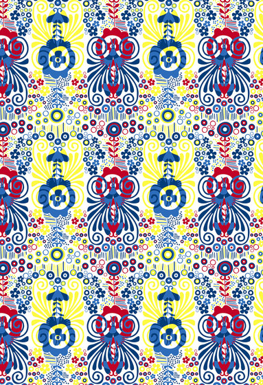 Floral pattern | Blue red and yellow flowers repeating design by wallunica | Wall coverings / wallpapers