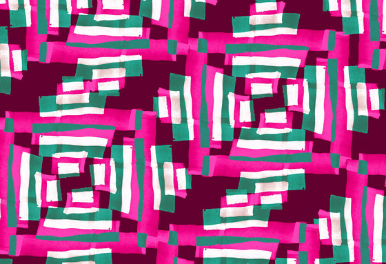 Geometric Design | Pink and green geometric pattern de wallunica | Papeles pintados