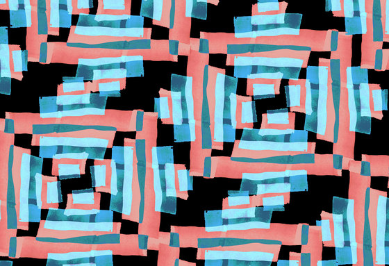 Geometric Design | Blue and coral geometric pattern by wallunica | Wall coverings / wallpapers