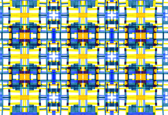 Geometric Design | Blue and yellow geometric pattern by wallunica | Wall coverings / wallpapers