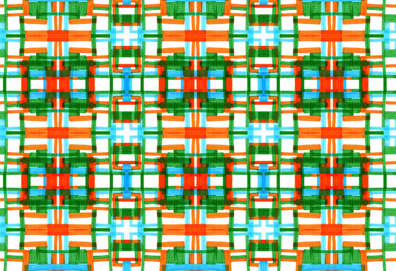 Geometric Design | Orange and green geometric pattern de wallunica | Revestimientos de paredes / papeles pintados