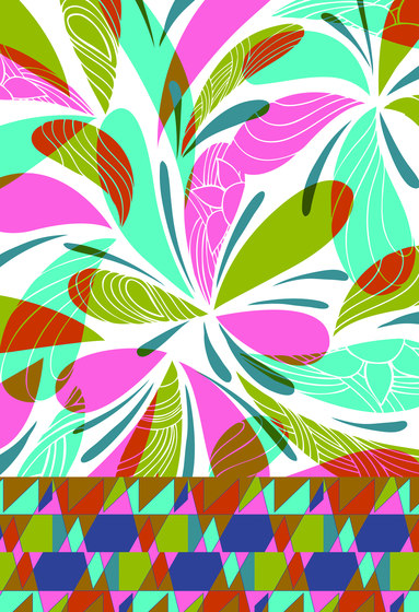 Geometric Design | Colorful geometric pattern on white background di wallunica | Carta da parati / carta da parati