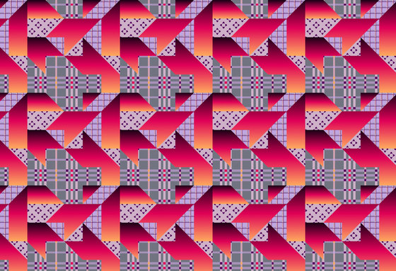 Geometric Design | Colorful houndstooth over plaid background by wallunica | Wall coverings / wallpapers