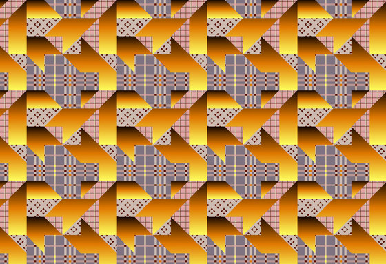Geometric Design | Colorful houndstooth over plaid background de wallunica | Revestimientos de paredes / papeles pintados