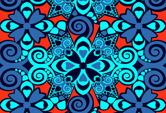 Geometric Design | Blue and orange geometric design de wallunica | Revestimientos de paredes / papeles pintados