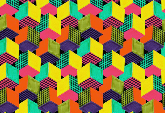 Geometric Design | Colorful geometric cubes di wallunica | Carta da parati / carta da parati