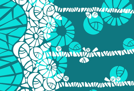 Geometric Design | Teal and white geometric design by wallunica | Wall coverings / wallpapers