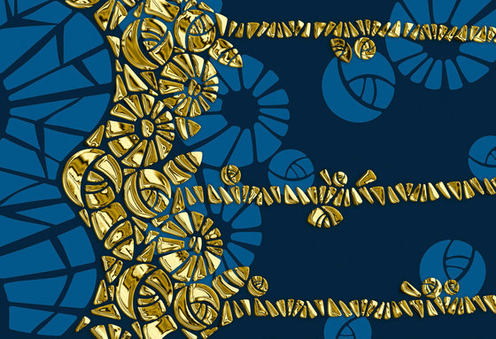 Geometric Design | Blue and gold geometric design by wallunica | Wall coverings / wallpapers