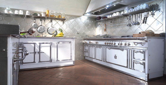 TAILOR MADE KITCHENS   PEARL WHITE & BRUSHED NICKEL KITCHEN by Officine Gullo   Fitted kitchens