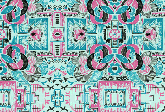 Felt Art | Pink and cyan intricate design by wallunica | Wall coverings / wallpapers