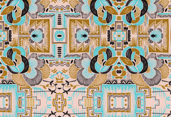 Felt Art | Brown and cyan intricate design by wallunica | Wall coverings / wallpapers