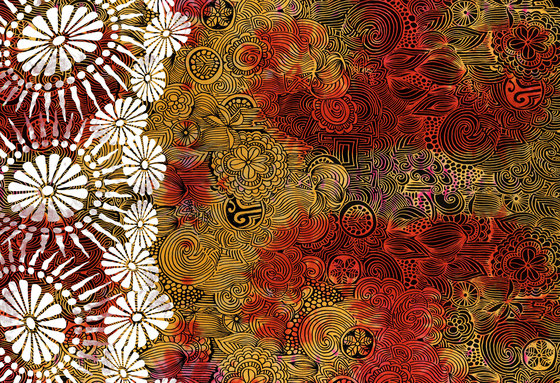 Felt Art | Orange and brown intricate design by wallunica | Wall coverings / wallpapers