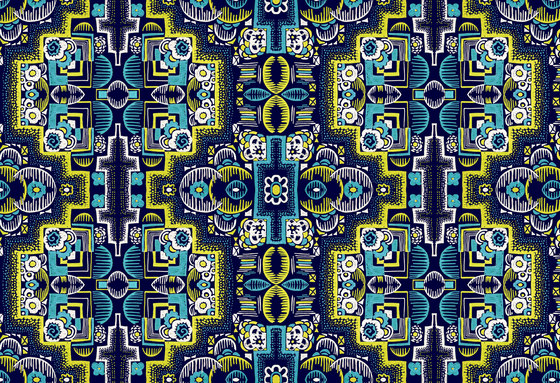Felt Art | Intricate navy and yellow design by wallunica | Wall coverings / wallpapers