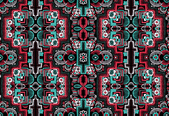 Felt Art | Intricate red and cyan design by wallunica | Wall coverings / wallpapers
