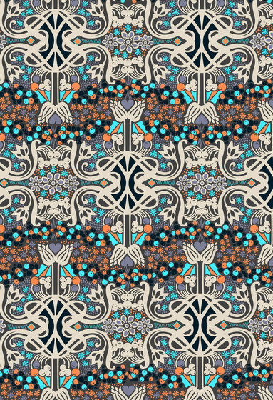 Felt Art | Blue and brown intricate design by wallunica | Wall coverings / wallpapers