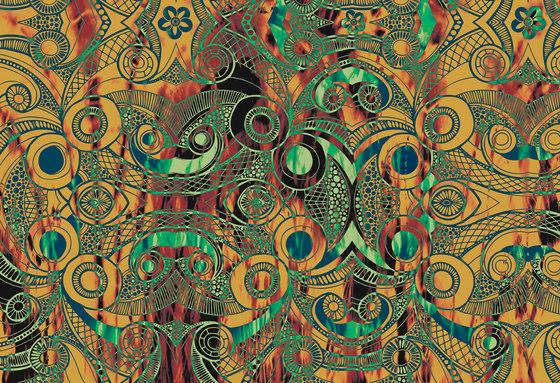 Ilustrations - Wall Art | Brown and green etched illustration di wallunica | Quadri / Murales