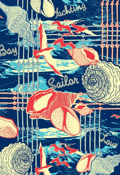 Ilustrations - Wall Art | Red, white and blue nautical design di wallunica | Quadri / Murales