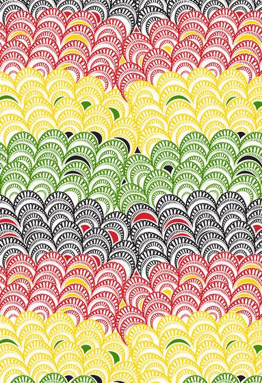 Textile Structures | Red, yellow and green scale design di wallunica | Carta da parati / carta da parati
