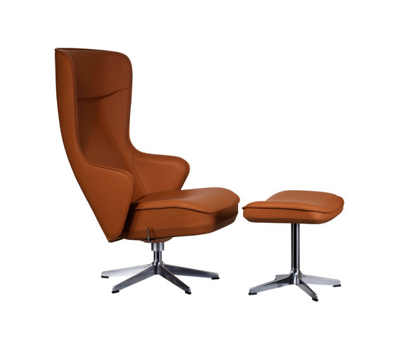 Norma Swivel chair with footstool by Swedese | Lounge chairs with footstools