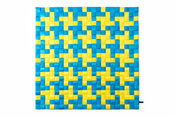 2Tone FX D Check blue & yellow by kymo | Rugs / Designer rugs
