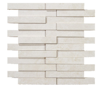 Evolution white striato mosaico brick by Apavisa | Ceramic mosaics
