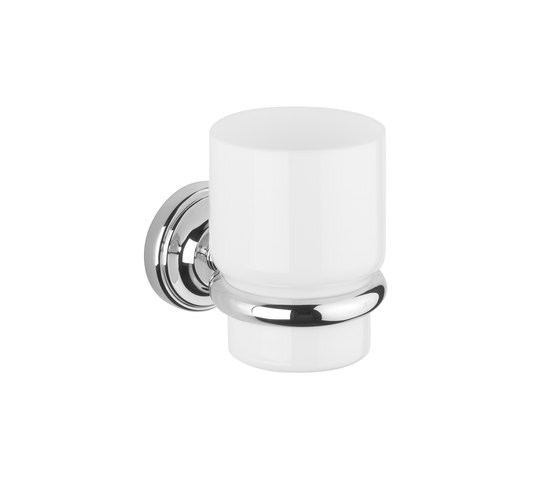 Vienna Tumbler holder with white glass tumbler by Aquadomo   Toothbrush holders
