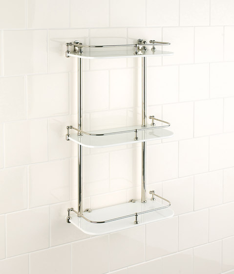 Wall shelf | white glass by Aquadomo | Bath shelving