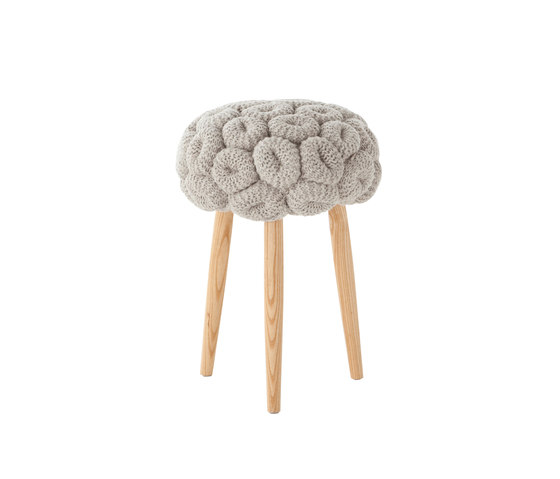 Knitted Stool Grey 1 de GAN | Poufs