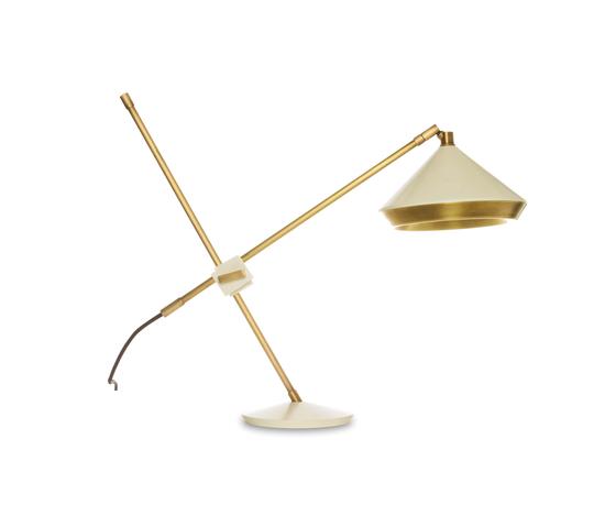 Shear Table Lamp White & Brass von Bert Frank | Allgemeinbeleuchtung