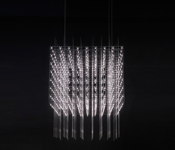 Universe Square 100 with glassbars by Quasar | Suspended lights