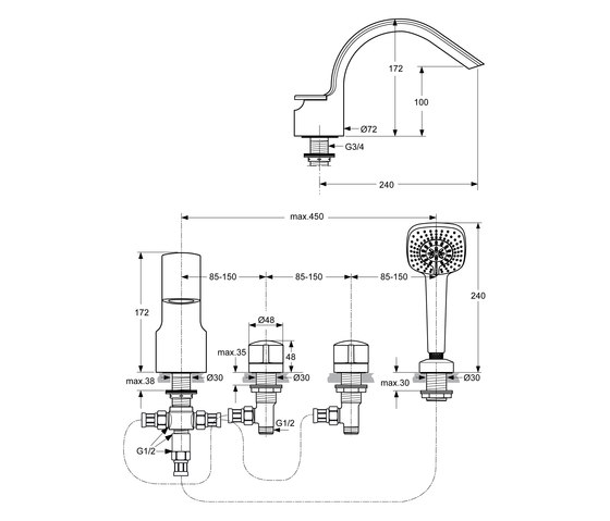 melange 4 loch badearmatur robinetterie pour baignoire de ideal standard architonic. Black Bedroom Furniture Sets. Home Design Ideas