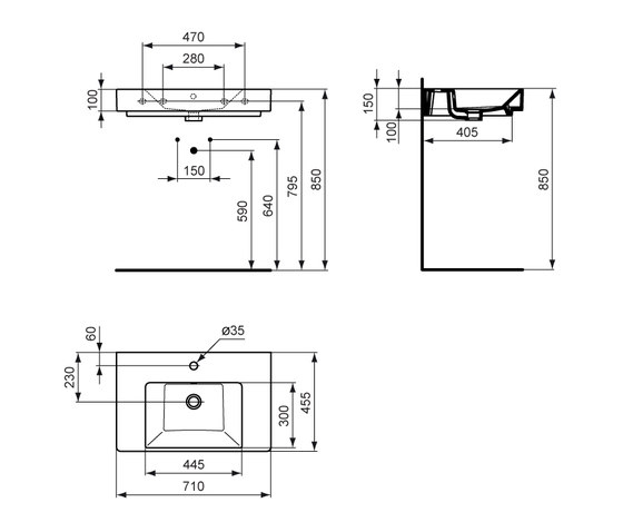 Strada Möbelwaschtisch 710mm by Ideal Standard | Wash basins