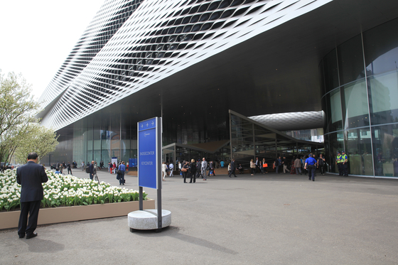 Signage System Messe Basel by BURRI – Outdoor F4 stele with concrete base by BURRI | Advertising displays